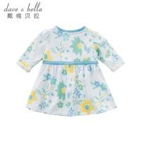 davebella戴维贝拉春装新款连衣裙女童纯棉青绿印花连衣裙DBA6567