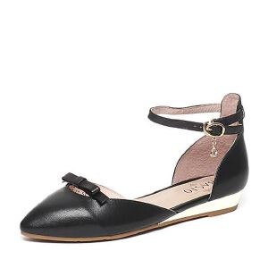 BASTO/百思图春季专柜同款羊皮时尚优雅坡跟女凉鞋16A29AK6