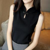 春装2018新款女韩版修身显瘦无袖针织背心女短款旗袍打底衫毛衣女