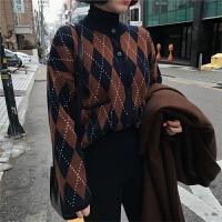 2018春装韩版宽松菱格长袖针织衫上衣百搭港风开衫毛衣外套女学生