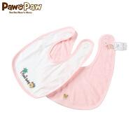 【3件4折 到手价:39】Pawinpaw卡通小熊童装男女宝宝纯棉围嘴2件套婴儿口水兜