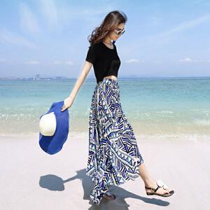 哆哆何伊2018夏新款雪纺连衣裙波西米亚长裙女两件套花裙子海边度假沙滩裙