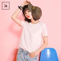 韩版宽松拉夏贝尔7m2017夏装新款简约纯色上衣学生休闲短t恤女70007665