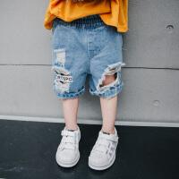 夏装新款男童破洞牛仔裤中小童宝宝五分裤儿童牛仔短裤薄