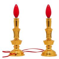 电烛灯led电蜡烛灯供佛电烛台供灯佛灯家用财神长明灯神台灯插电礼品 LED款 8寸-28cm/对