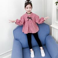 童装2019秋季新款女童迷你格套装儿童上衣+裤子女孩两件套