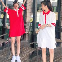 200斤胖MM韩版Polo领条纹短袖T恤加肥加大码中长荷叶边连衣裙女