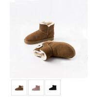 青婉田雪地靴女皮毛一体2018新款短筒加厚保暖防滑加绒短靴女平底