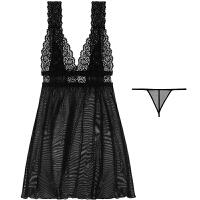 抖音网红潮牌2019蕾丝美背短裙两件套薄透明性感睡衣家居服女吊带睡裙 均码