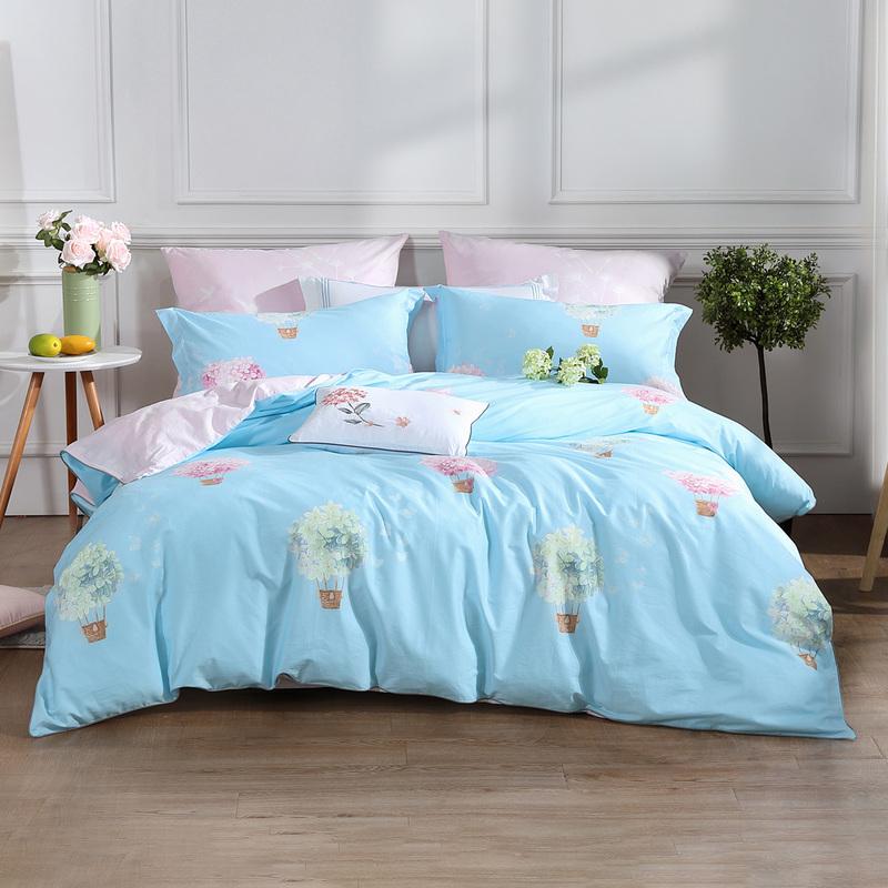 水星家纺纯棉套件全棉印花四件套纯棉床单被套浮香叶梦 芬然如梦
