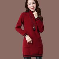 冬天网红毛衣女中长款秋冬季加厚套头高领长袖紧身打底羊绒针织衫