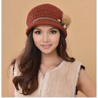 时尚新款冬季女针织帽毛线帽子 保暖手工编织纯羊毛线女帽