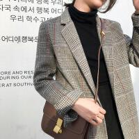 2018新款秋冬双面羊绒大衣女中长款流行格子韩版西装复古毛呢外套 紫橙格 S