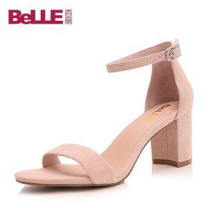 Belle/百丽2017夏简约大方一字带羊绒皮露趾女凉鞋17111BL7