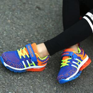 运动鞋 男女童拼色针织防滑耐磨气垫鞋秋季韩版新款时尚舒适中大童款式休闲鞋
