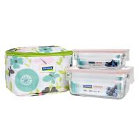 Glasslock 韩国钢化玻璃饭盒KX002微波炉冰箱收纳盒便当保鲜盒饭盒2件套饭菜盒