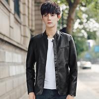 夹克外套男韩版修身男士立领休闲时尚秋季青年学生皮衣机车潮