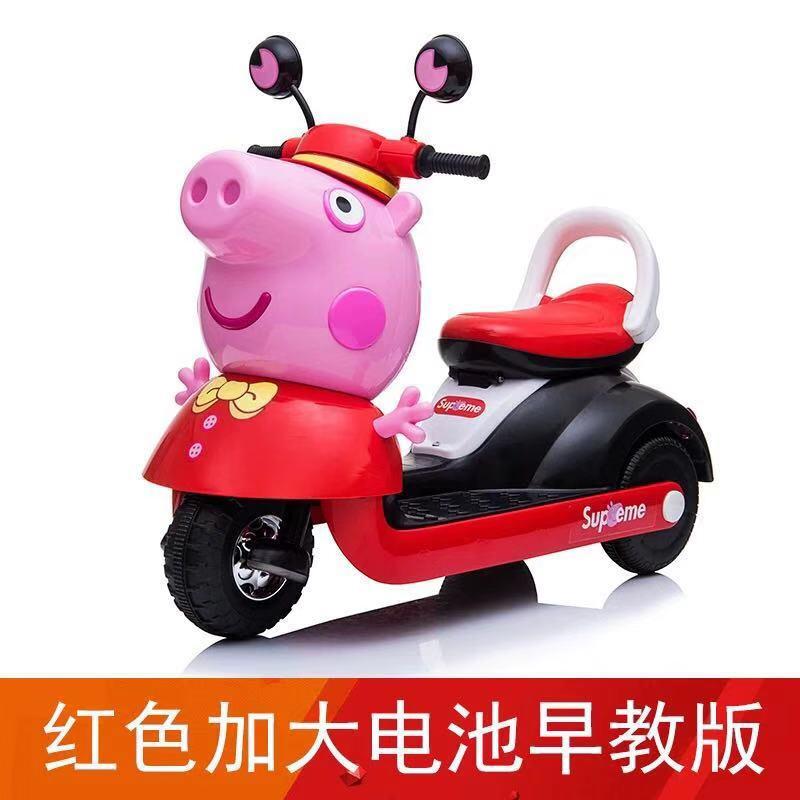 儿童电动摩托车宝宝三轮车可坐人充电玩具童车大号2-3-6-8岁 童话红 加大电池早教版