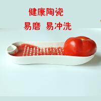 宝宝研磨盘婴儿辅食工具陶瓷手动便携 料理器苹果肉泥菜泥碾磨器M 方形研磨盘+送分离器 毛刷