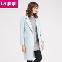 【618大促-每满100减50】lagogo2016冬季新款女装纯色冬装中长款毛呢大衣外套