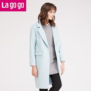 【每满200减100】lagogo2016冬季新款女装纯色冬装中长款毛呢大衣外套time:4.17~4.23