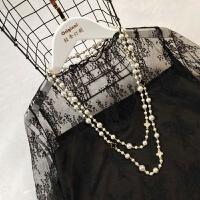 加绒蕾丝打底衫长袖 秋新款加厚保暖高领纱网内搭网纱上衣女
