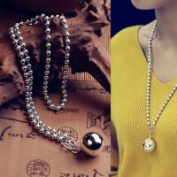 ?纯银圆球银珠项链时尚秋冬长款毛衣链简约百搭长链子礼物
