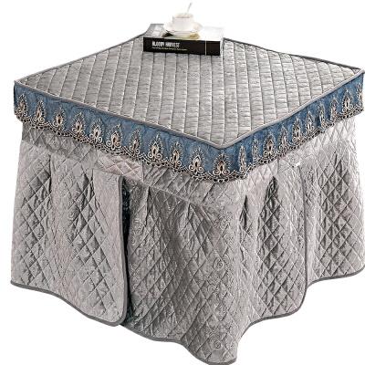 毛绒烤火罩正方形取暖桌烤火桌电炉罩被电暖炉罩火炉罩子烤火桌布 灰色 意大利绒灰色