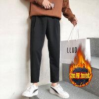 新款冬季男士加绒加厚裤子休闲裤韩版黑色哈伦运动裤潮流修身