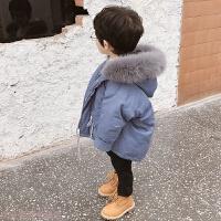 冬季男童棉衣2018新款洋气棉袄时尚儿童羽绒棉外套冬季女宝宝加厚秋冬新款 蓝色