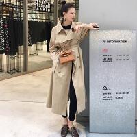 风衣女中长款韩版春秋季2019新款气质宽松收腰过膝长款流行外套女 驼色