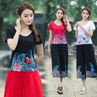 中国风女装夏季新款上衣民族风绣花短袖T恤女大码弹力打底衫