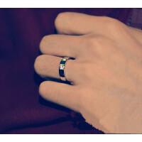 七度品尚新潮男戒指环 925纯银饰镀白金 简约男士单身 仿真结婚戒子赠刻字