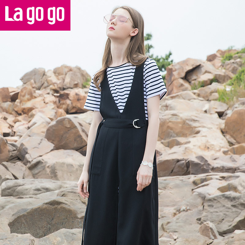 Lagogo2017夏季新款条纹圆领短袖T恤黑色中长款连衣裙两件套女