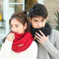 韩国秋冬季学生保暖男女百搭纯色柔软毛线围脖套头加厚双层情侣款围巾
