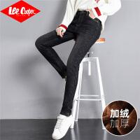 Lee Cooper时尚唯美个性显瘦保暖舒适弹力加绒牛仔裤女
