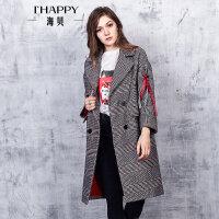 海贝2017冬装新款女装外套 时尚格子字母织带中长款毛呢羊毛大衣