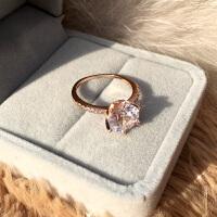 日韩仿真钻戒女简约六爪钻石戒指情侣对戒结婚戒指指环