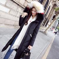 羽绒服女中长款2018冬季韩版修身显瘦彩色大毛领过膝时尚加厚 黑色