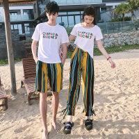 2018新款情侣装夏装短袖T恤男女半袖夏天套装韩范气质海边沙滩 图色