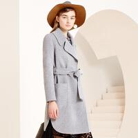 冬装新品中长款西装领双面呢羊毛大衣外套女S640144D00