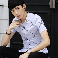 新款2018男士T恤夏季白色衬衫男士短袖衬衣韩版打底格子休闲潮流