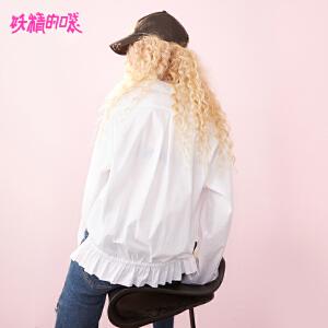 【低至1折起】妖精的口袋初秋长袖上衣女衬衣2018新款韩版原宿风休闲白衬衫女