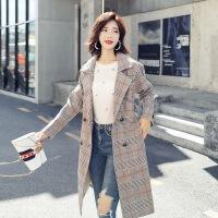 茉蒂菲莉 风衣 女士长袖西装领修身格子chic上衣秋季新款韩版双排扣休闲潮气质女式中长款外套学生时尚女装