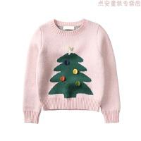 童装秋冬新款女童美圣诞提花毛衣儿童宝宝大童柔软线衫线衣 粉色-身短袖长版型