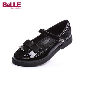 百丽童鞋2017新款女童英伦风学生鞋儿童黑色小皮鞋流苏亲子鞋DE0375
