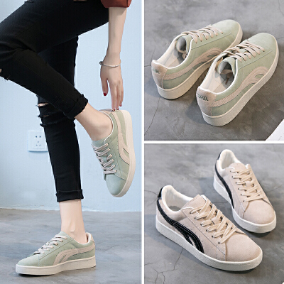 ZHR2018春季新款韩版运动鞋ulzzang平底板鞋休闲鞋单鞋真皮女鞋潮B71