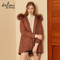 伊芙丽冬装新款韩版潮宽松外套加厚大毛领连帽中长款羽绒服女
