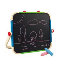 小黑板家用涂鸦板 儿童便携式画板双面磁性宝宝写字板支架式