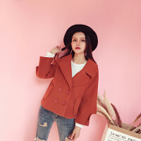 (36)毛呢外套女短款韩版西装领宽松百搭显瘦长袖呢子大衣